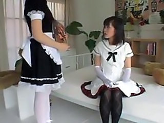 Asian schoolgirl spanked by French maid