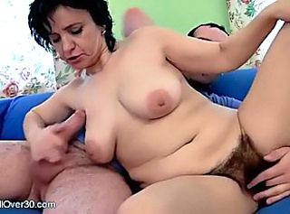 Mature Hairy Woman Rides On Young Hard Dick