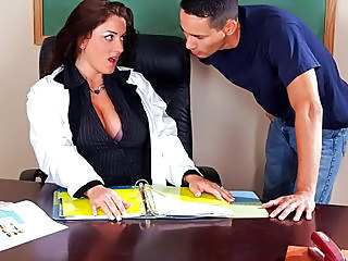 Milf teacher with bigtits banging her student in the classroom