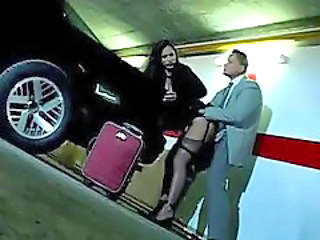 sexy milf gets surprised in the parking lot by her boss