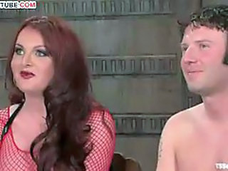 BDSM sex with tranny in red fishnet