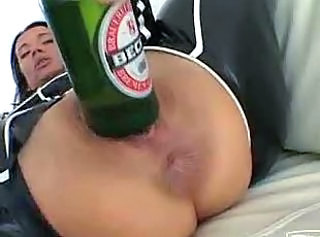 Horny slut fist her pussy and ass with a big bottle
