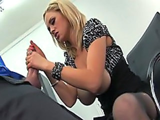 Katie Kox busty babe wanking off hard in the office