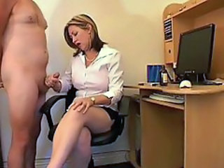 Tasty British milf gives CFNM handjobs
