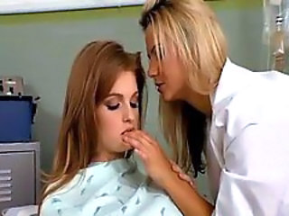 Redhead has lesbian threesome in doctors office