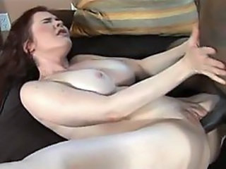 Fiery redhead Mae Victoria shows this big black rod her juicy fuck tunnel