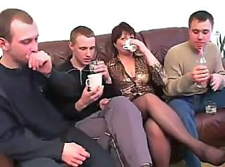 Hot mother fucks with own son and his friends