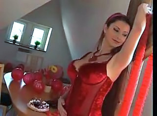Valentines Day with busty girl in red lingerie