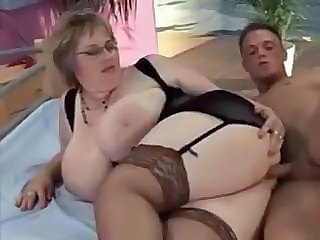 Bbw Babe Keeps On Her Black Stockings While She Fucks This Guy
