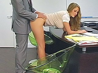 Blonde Secretary Bent Over Her D...