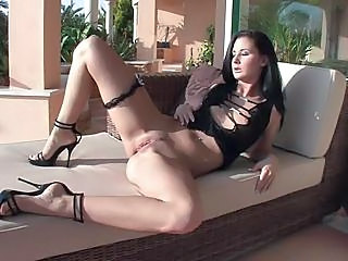 Horny Brunette Spreading And Masturbating Pussy