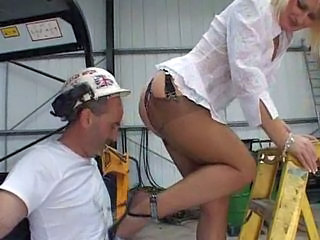 Aroused Blonde Gives Handjob To Worker
