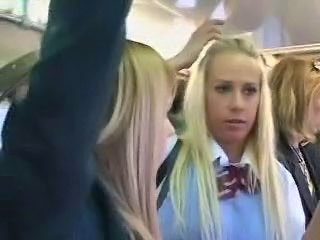 Hot schoolgirls fucked on a public bus