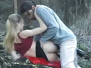 Blonde Gets Nailed In The Forest...