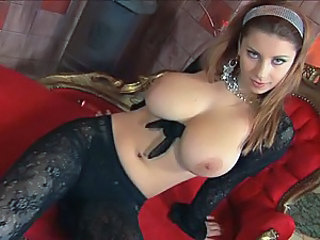 Horny Babe With Huge Boobs Fucks Herself With A Dildo