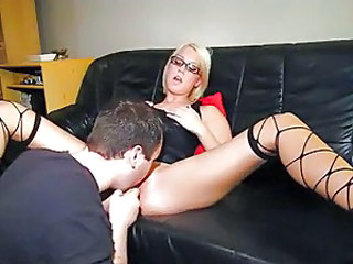 Hot blonde with glasses