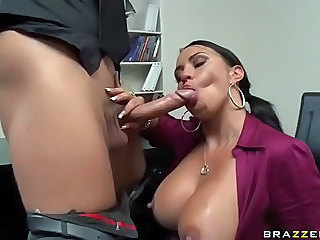 Desperate Mariah Milano does her best to make her big dick boss happy. She turns him on by sucking his pole and taking it between her huge natural titties. He can't wait to insert his dick in her juicy pussy. He fucks her wet snatch as hard as possible from behind.