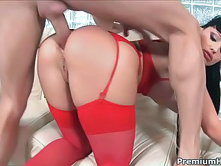 Irresistibly sexy busty black haired secretary Aletta Ocean in glasses and hot red stockings gets her gorgeous ass fucked by her boss. She appreciates his hard dick.