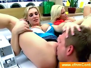 Clothed blonde cougars get licked