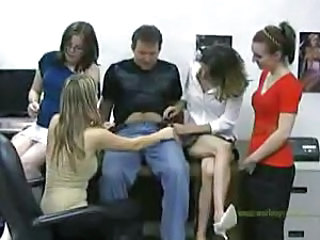 Four office babes play with his dick