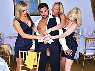 Tyler, Holly and Tanya were just wrapping up a great dinner and finishing up dessert when Holly kind of noticed a bulge while staring at the waiter and focusing mostly on his pants. Tanya dared her to