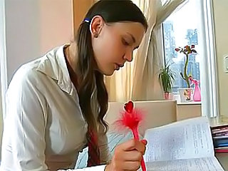 Well, well, this brunette teen wants to learn not only English, but also vaginal and anal sex! And her horny pussy is ready to have some lessons of these dirty things right now! This sweet guy who suggested her his help in English lessons, would like to h