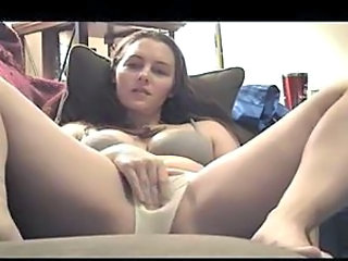 She masturbates into panties and licks them