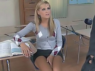 Schoolgirl in cardigan sucks cock