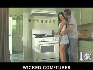 Sexy Tight Asian Pornstar Asa Akira Eats  Fucks Cock In Kitchen
