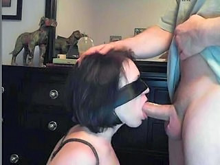 Blindfold and tied deepthroat...