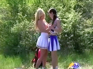 Naughty lesbian outdoor camping