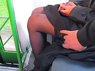 touch her tits, stockings and pussy