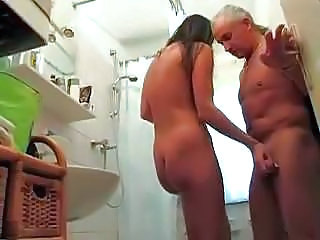 Daddy gets handjob in bathroom