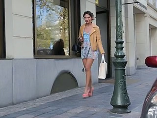 Teen shopping public in high heels and dress (+upskirt)