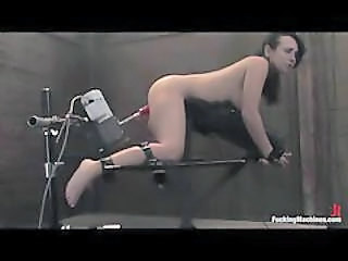 Tied Up Girl Fucked By A Dildo Machine And Vibrated
