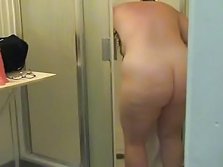 Chubby Soccer Mom Getting Out Of Shower