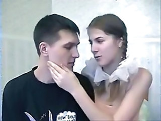 Russian brunette in pigtails trades head and gets drilled