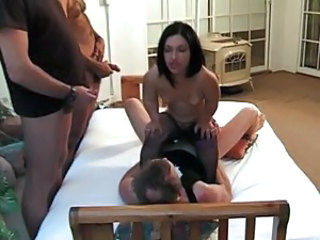 Horny brunette midget gangbanged by neighbors