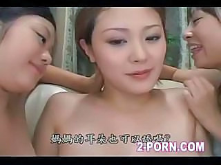 Two Appetizing Japanese Cocats Lick Pregnant Girl`s Shallow Pussy