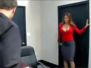 Conference table coitus at the office for a MILF and a dude