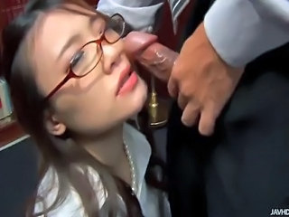 Classy and pretty Japanese office girl got some other skills other than paper...