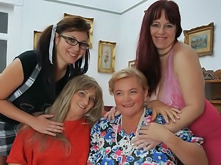 Four horny aged and young lesbians do it special