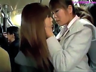 Schoolgirl Kissing With Girl Giving Blowjob Jerking Business Man Cock On The Bus
