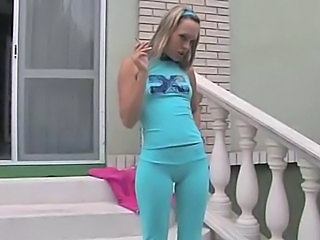 Blond teen cameltoe