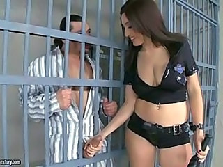 Amazing Handjob  Natural Pornstar Prison Uniform