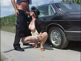 Blowjob Car Clothed European German Mature Natural Outdoor