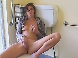 Glasses Masturbating   Solo Toilet