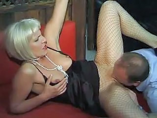 Clothed Fishnet Licking Mature