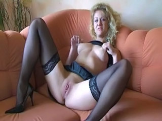 Amateur European German Masturbating  Nipples Pussy Shaved Solo Stockings
