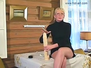 Blonde Dildo Glasses Mature Toy